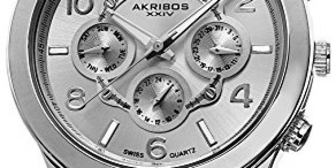 Akribos XXIV Women's AK648SS Ultimate Swiss Multifunction Silver-Tone Bracelet Watch